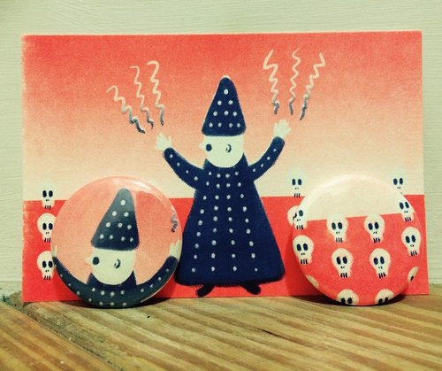 WIZARD risograph postcard+pins set orange+blue
