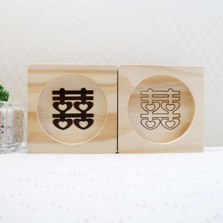 Wedding gift 囍 things repeatedly engagement gift Double Happiness blessing Valentine 's Day gift cup mat spoon