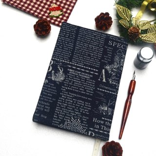 English newspaper book cover with bookmark handmade canvas