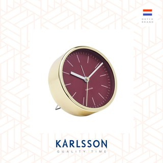 Karlsson, Alarm clock Minimal burgundy red w. shiny gold case