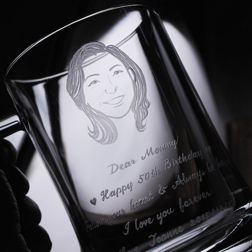 660cc cup] [mother Portrait (Realism Version) Lead-free gold beer mug Pasabahce gift for mom for Mother's Day custom portrait