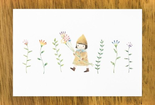 "Such as a picture book. ""Girl with a flower"" post card (set of 2) PC-26"