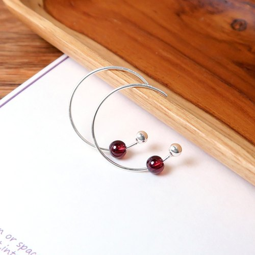 Burgundy Pomegranate Crescent Earrings (Small) -925 Sterling Silver Natural Stone Earrings