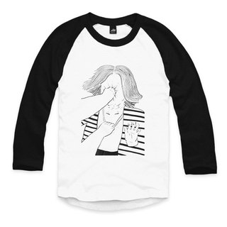 Time Travel PUNCH - White/Black - Seven-Sleeve Baseball T-Shirt