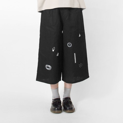 【HEYSUN】school series / playground  screen printing pant-black