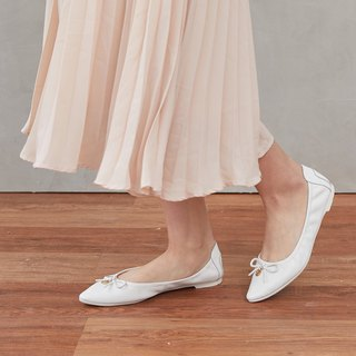 [Bob Step] bow buckle gold leather ballet shoes _ feather white gentle