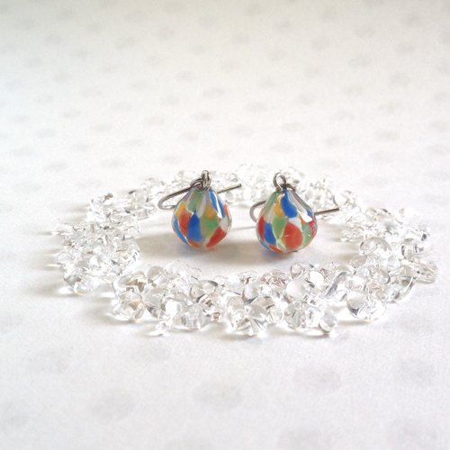 GLASS * mosaic earrings (multi)
