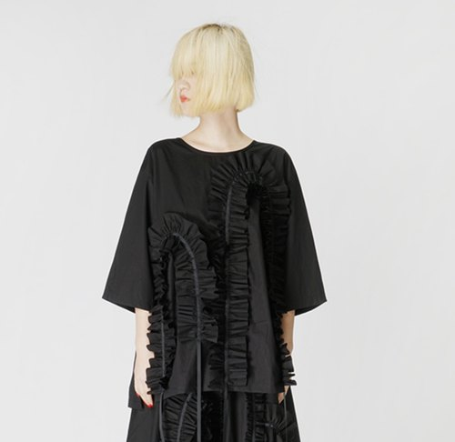 Chuisi lace black shirt - imakokoni