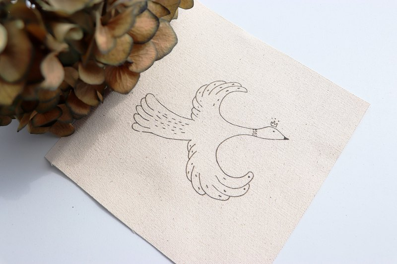 Small bird illustration embroidery kit