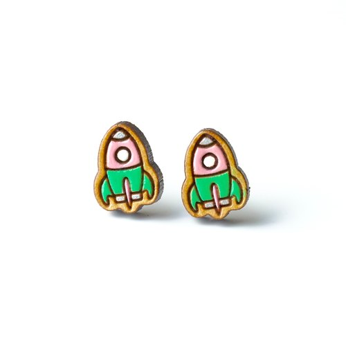 Painted wood earrings-Rocket