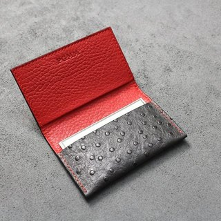 KAKU handmade leather custom customized business card holder card iron gray ostrich pattern