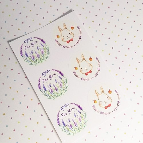 StarLululu lavender bunny ForYou small round sticker