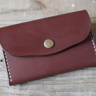 Hand sewn leather business card holder (card case) choco