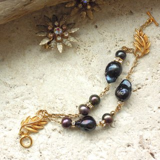 Gold leaf with black pearl antique bracelet