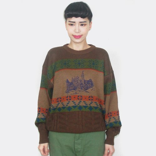 (Special) brown small castle embroidered vintage wool sweater sweater AW5020