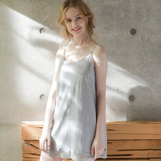 No steel ring pajamas [exclusive 2in1] no elf fairy face lace cotton short dress home service - gray