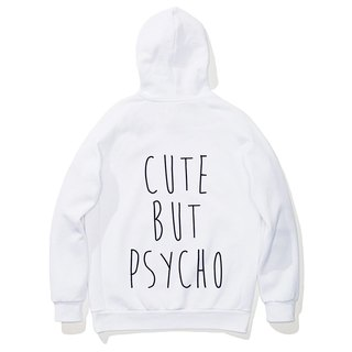 CUTE BUT PSYCHO long-sleeved bristles hooded T neutral white Wen Qing fashion design trendy text fashion