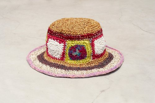 Valentine's Day gift limited to a hand-woven cotton / cotton hat / weaving hat / fisherman hat / straw hat / straw hat - sari line hit color color world