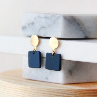 Mist face small square - blue drop earrings earrings [changeable ear clips]