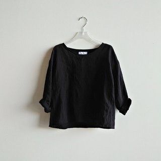 Cropped sleeve short shirt linen black