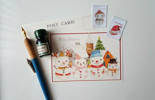 Christmas snowman lined up hand-painted postcard