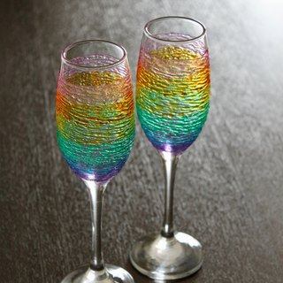Romantic Rainbow Hues Champagne・Handmade Wedding Wine Glasses・Couple Gift for Wine Lovers