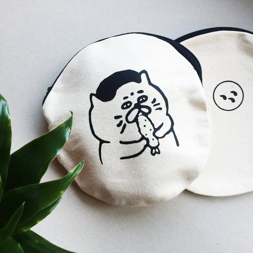 Fried shrimp Goro (cat) is not a big circle round bag / handmade serigraphy - cool black