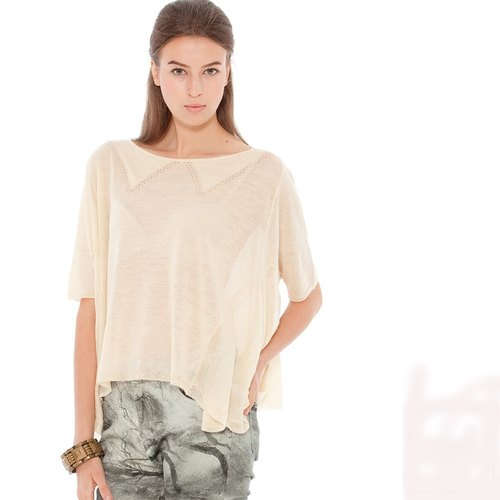 [Ladies] preferred KIINO warm spring comfort ramie lively cut short Blouse (0861-1889-62 Beige)