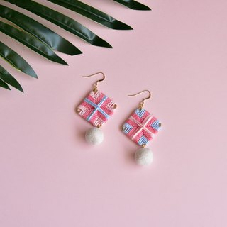 Pink Square Braided Earrings