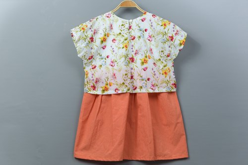 """Spring flowers small dress"" hand for non-toxic dress T-shirt wool"