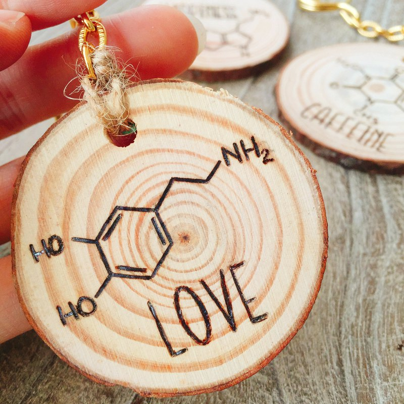 Wooden Key Ring Wood Log Keychain. Science Geek LOVE Molecule Gift For Her.