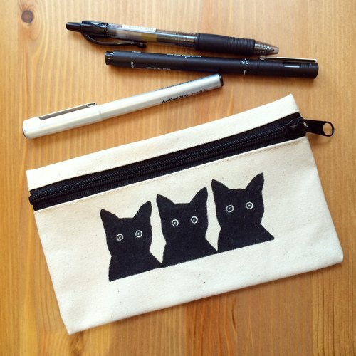 SillyCilly sharp Xili :: B1615 three Q-purpose small black canvas zipper bag Universal bag ::