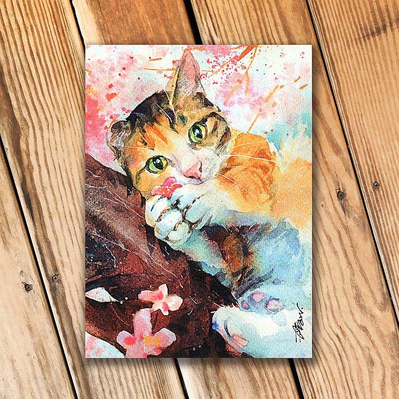 水彩繪毛孩系列明信片 - 櫻木花貓
