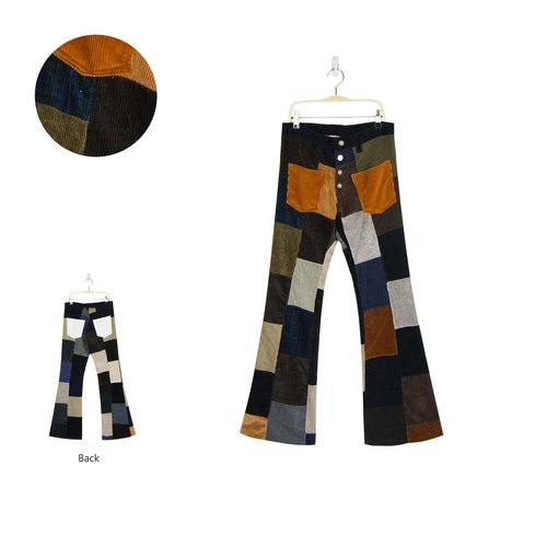 A‧PRANK: DOLLY :: VINTAGE retro styling of the whole patchwork corduroy pants Speaker width (coffee color)