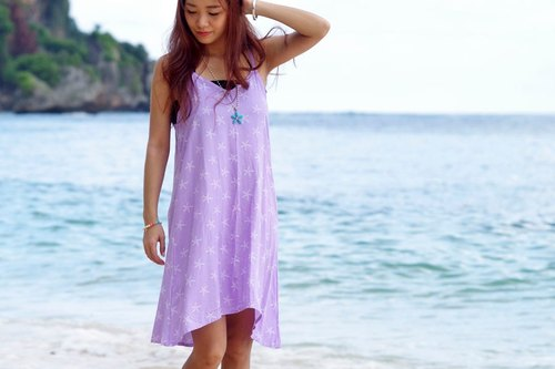 Starfish print camisole dress <Lavender>