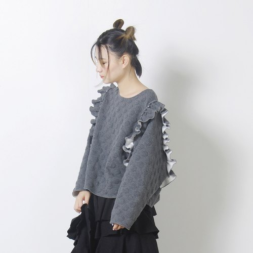 Dark gray flower shoulder blouse - imakokoni