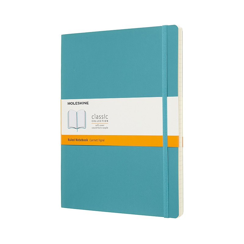 MOLESKINE Classic Coral Blue Soft Leather Notebook-XL Horizontal Line