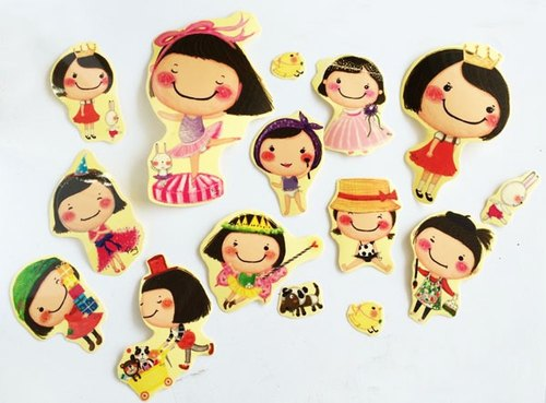 Transparent waterproof sticker ---- Bibiana together Veg (Product Number: HUA-0001-3)