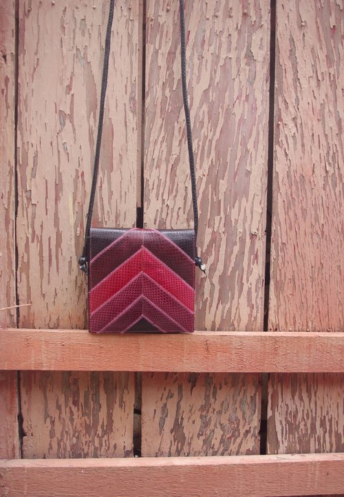 4.5studio- Nordic ancient antique bag - a small shoulder bag snakeskin geometric blocks of color