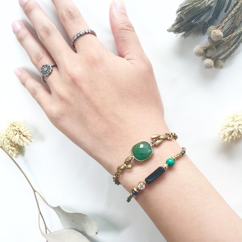Classical Brass Gemstone Bracelet - Emerald May Birthstone