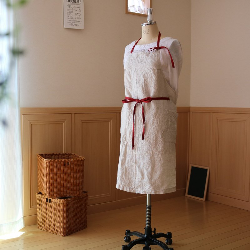 T-like order item / 83 cm length Halter-neck apron / linen (off scarlet)