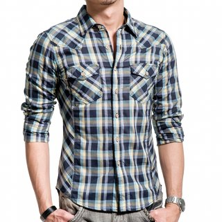 50 mercerized combed dark blue / light blue / yellow color mixing plaid long-sleeved shirt wooden buckle