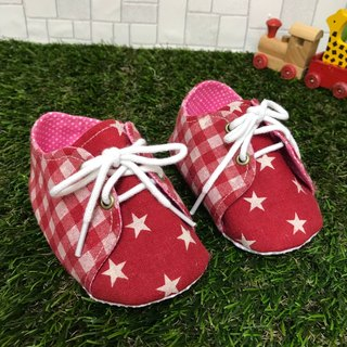 Plaid stars tying shoes tactile shoes <red>