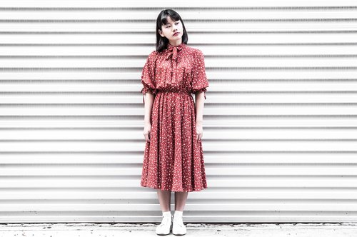 Vintage Summer Raglan Sleeve Dress Red Color Flower Print