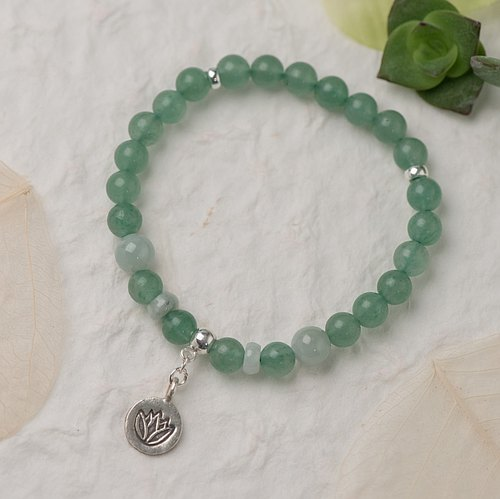 【Woody'sHandmade】樂連連。B款。東陵玉翡翠單層手串。Happy All The Time -- Aventurine with Jadeite, Style B