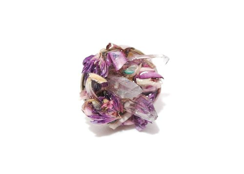 Colour Freak Studio Violet Dried Flower Crystal Ring Purple / Witchcraft Series