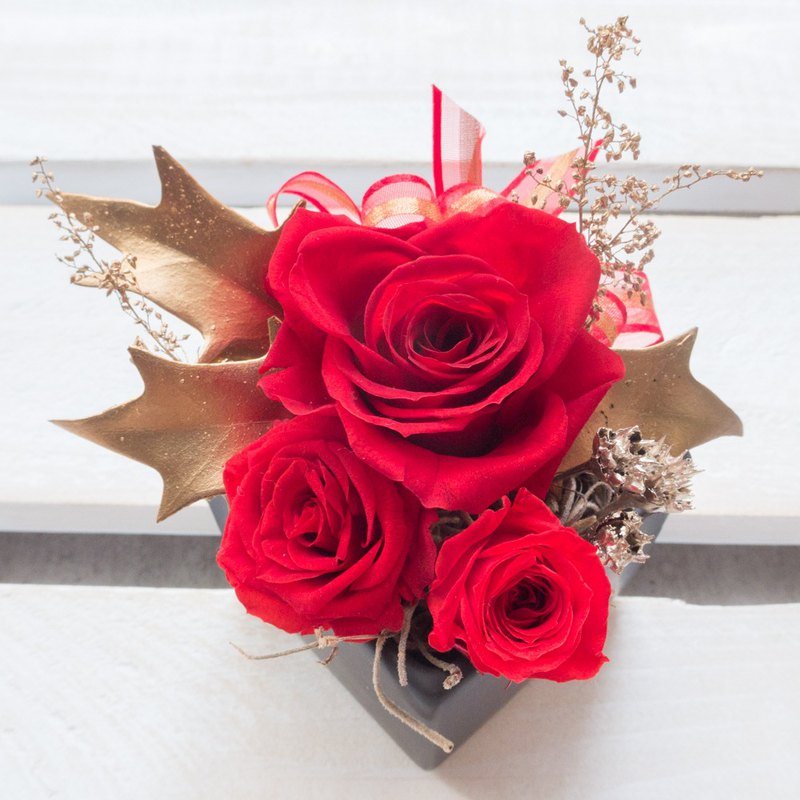 Kinki hand made Christmas rose red gold pot flower limited edition without flower small potted Tanabata Valentine's Day