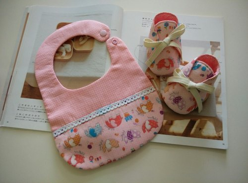 Pink elephant births gift bibs baby shoes +