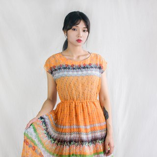 Orange garden figure half sleeve vintage dress