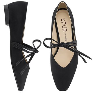 SPUR TIE UP A RIBBON FLATS MF9023 BLACK